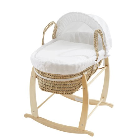 clair de lune rocking moses basket stand natural wood. Black Bedroom Furniture Sets. Home Design Ideas